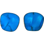 Celia Sebiri Inlaid Turquoise Signed Vintage Earrings