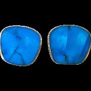 Celia Sebiri Inlaid Turquoise Signed Vintage Earrings