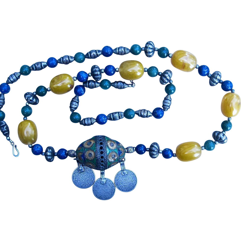 Chinese or Tibet Rare Necklace With Lapis, Amber, Quartz Beads and Enamel
