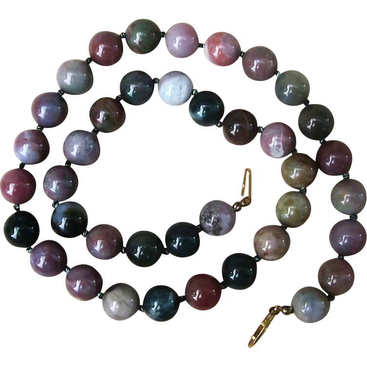 Hand Knotted Agate and Jasper Beaded Vintage Necklace