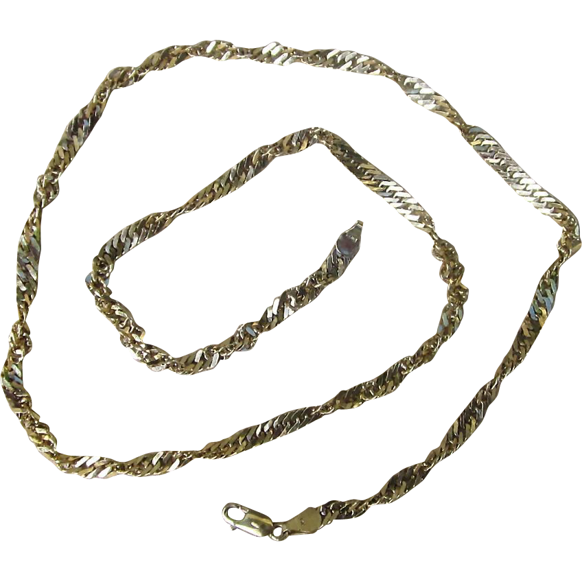 Unique Sterling Silver with Gold Wash Vintage Necklace from Italy