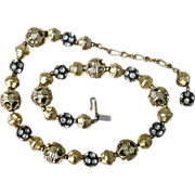 Hattie Carnegie Caged Rondel Rhinestone Beads and Gold Tone Design Vintage Signed Necklace