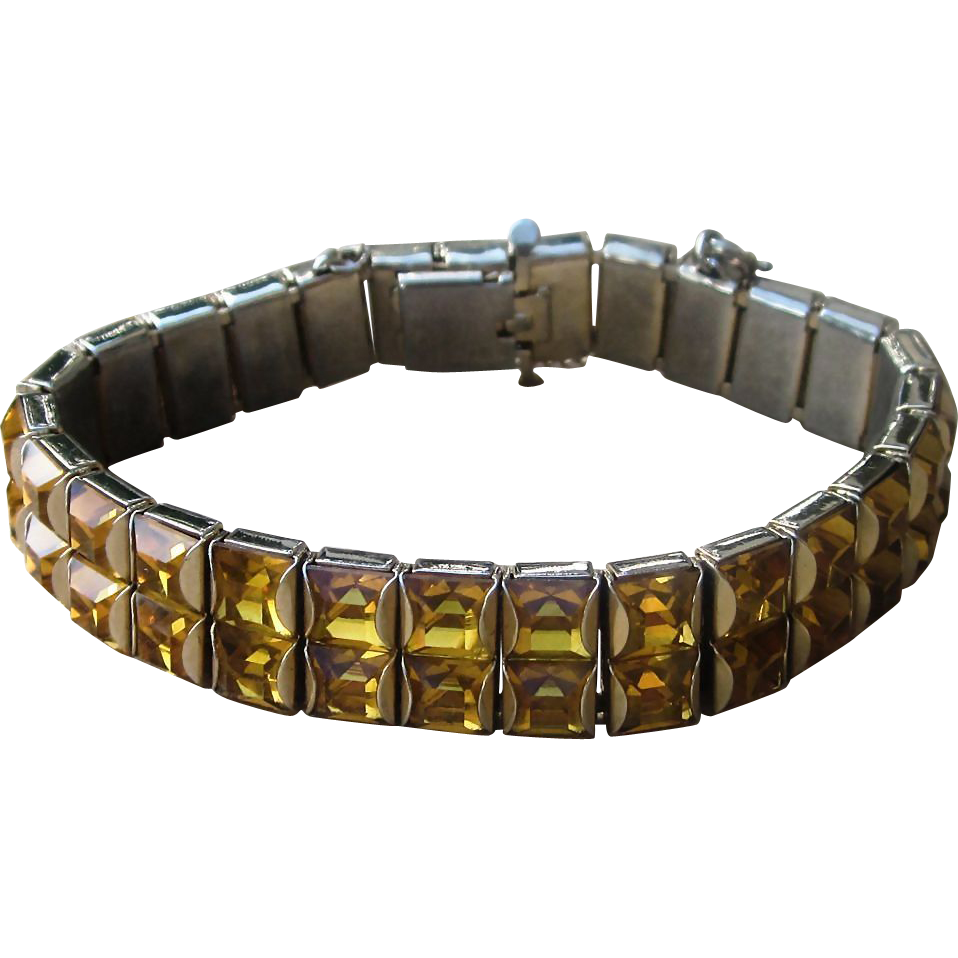 Double Line Vintage Bracelet Bezel Set With Amber Color Stones