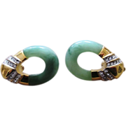 Kenneth Jay Lane Faux Jade and Rhinestone Couture  Runway Vintage Earrings