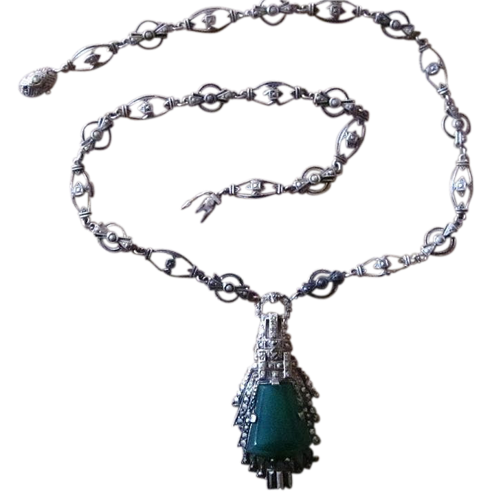 Signed Germany Sterling Silver Marcasite Chrysoprase Vintage Necklace