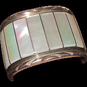 EL Gasper Huge Zuni Mother of Pearl and Sterling Vintage Cuff Bracelet
