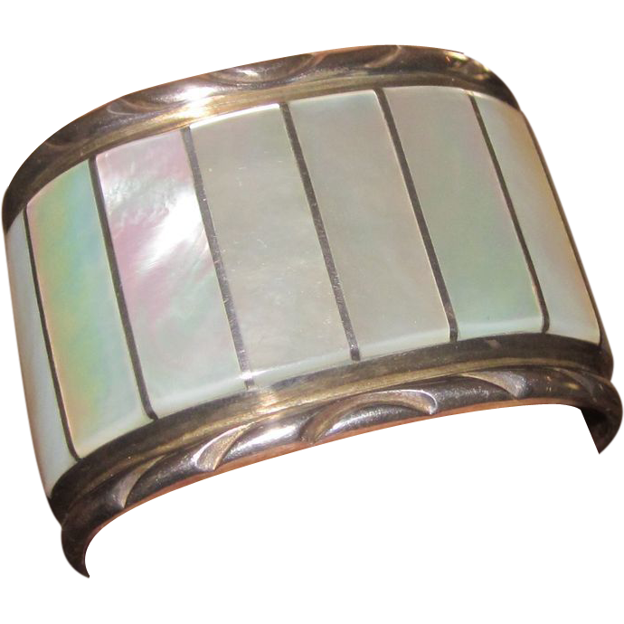 El Gasper Huge Zuni Mother Of Pearl And Sterling Vintage Cuff Bracelet Runway Ruby Lane