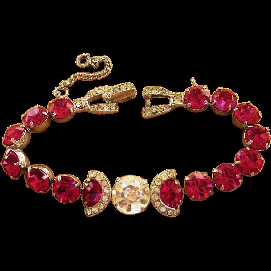 Weiss Headlight Magenta Rhinestone Signed Vintage Bracelet