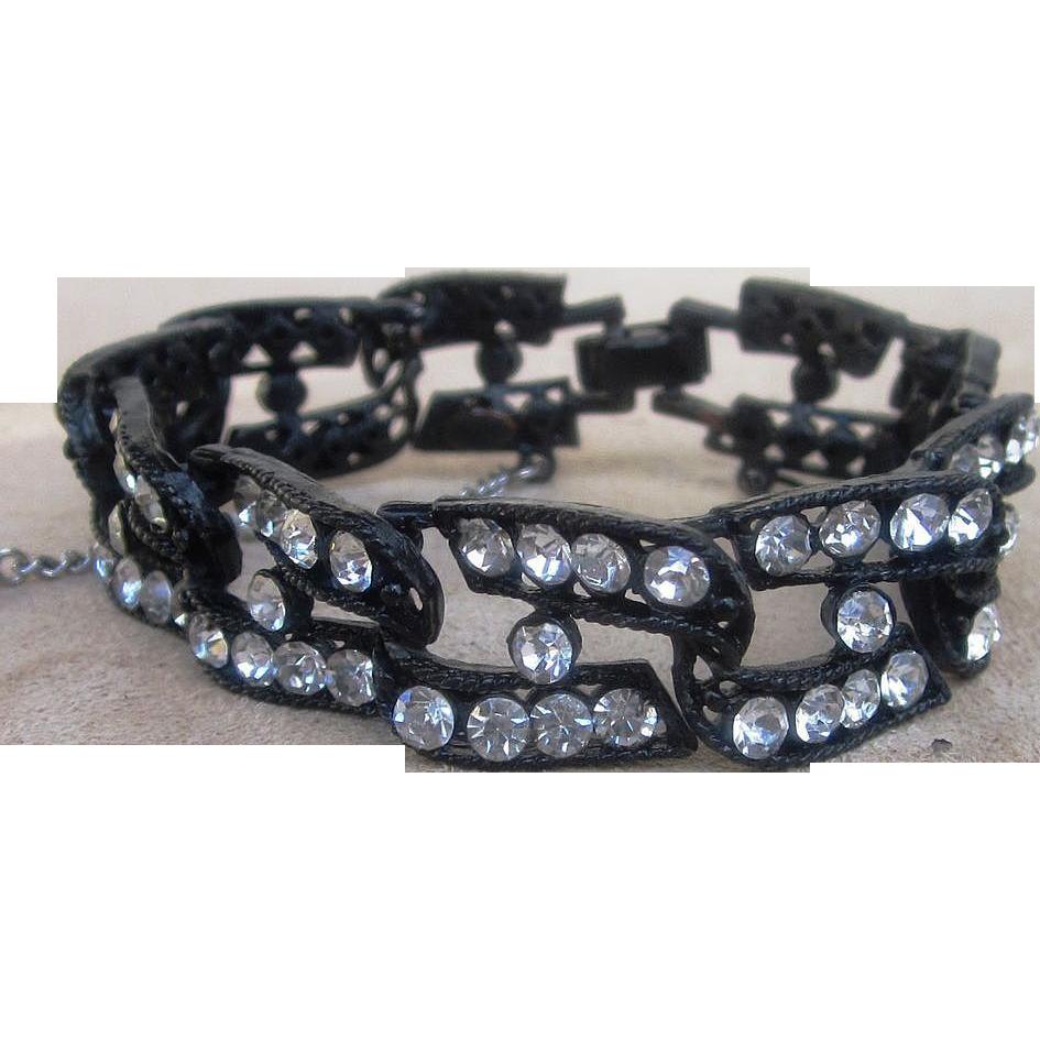 weiss signed vintage rhinestone bracelet from runwayvintage on ruby lane. Black Bedroom Furniture Sets. Home Design Ideas