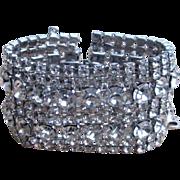 Huge and Wide Clear Rhinestone Chunky Vintage Runway Bracelet