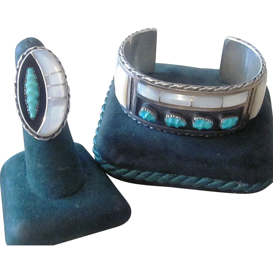 Panteah Zuni Huge Bracelet and Ring, Mother of Pearl and Turquoise
