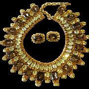 Hobe Extraordinary Bib Collar Vintage Runway Set  Necklace and Earrings