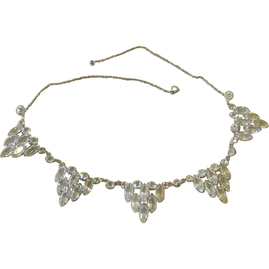 Sterling and Clear Crystal Elegant Vintage Necklace