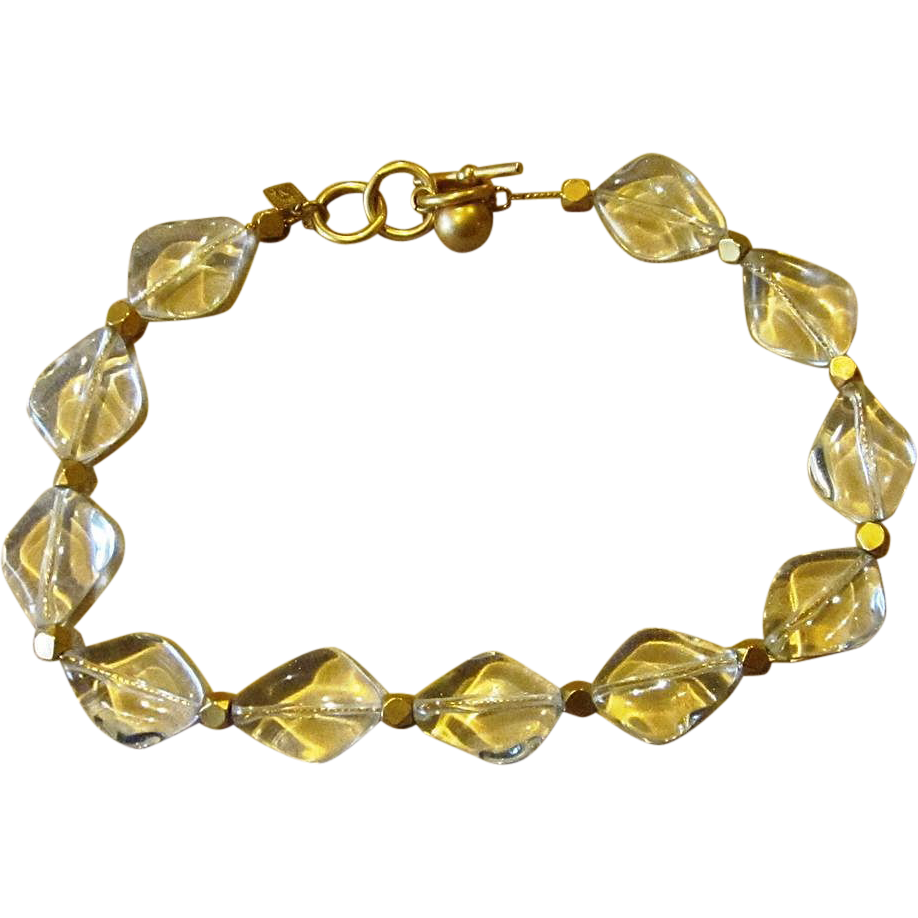 Anne klein clear lucite chunky vintage signed necklace for Best place to sell gold jewelry in chicago