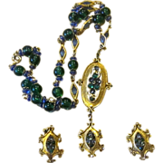 Hobe Signed Unique Vintage Necklace and Earrings Set