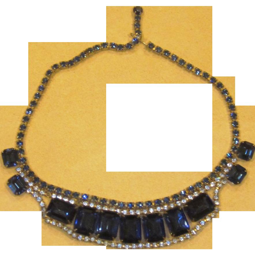 Beautiful Blue Large Rhinestone Vintage Necklace