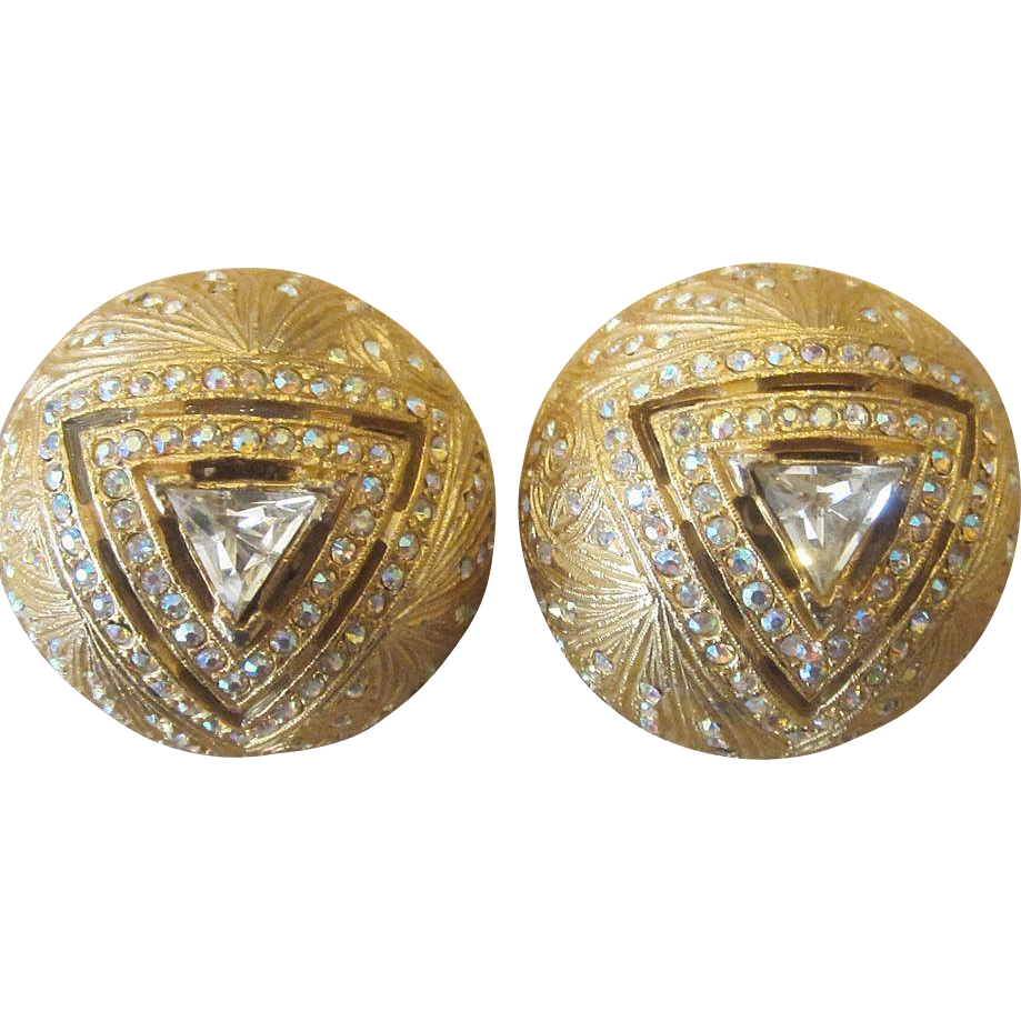Big and Bold Vintage Rhinestone Button Vintage Earrings