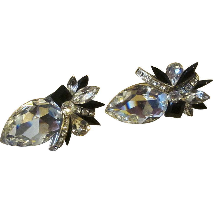 Huge Rhinestone Bling Vintage Rhinestone Earrings
