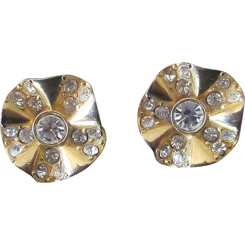 Givenchy Signed Vintage Rhinestone Earrings