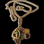 Designer ART Signed  Charm Pendant Necklace, Book Piece