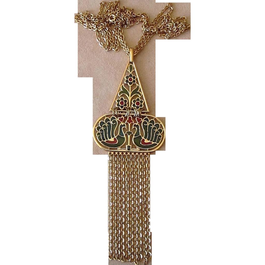 Famous Crown Trifari Plique A Jour or Stained Glass Vintage Necklace