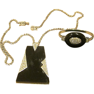 Rare Crown Trifari Book Piece Deco Style Vintage Necklace and Bracelet