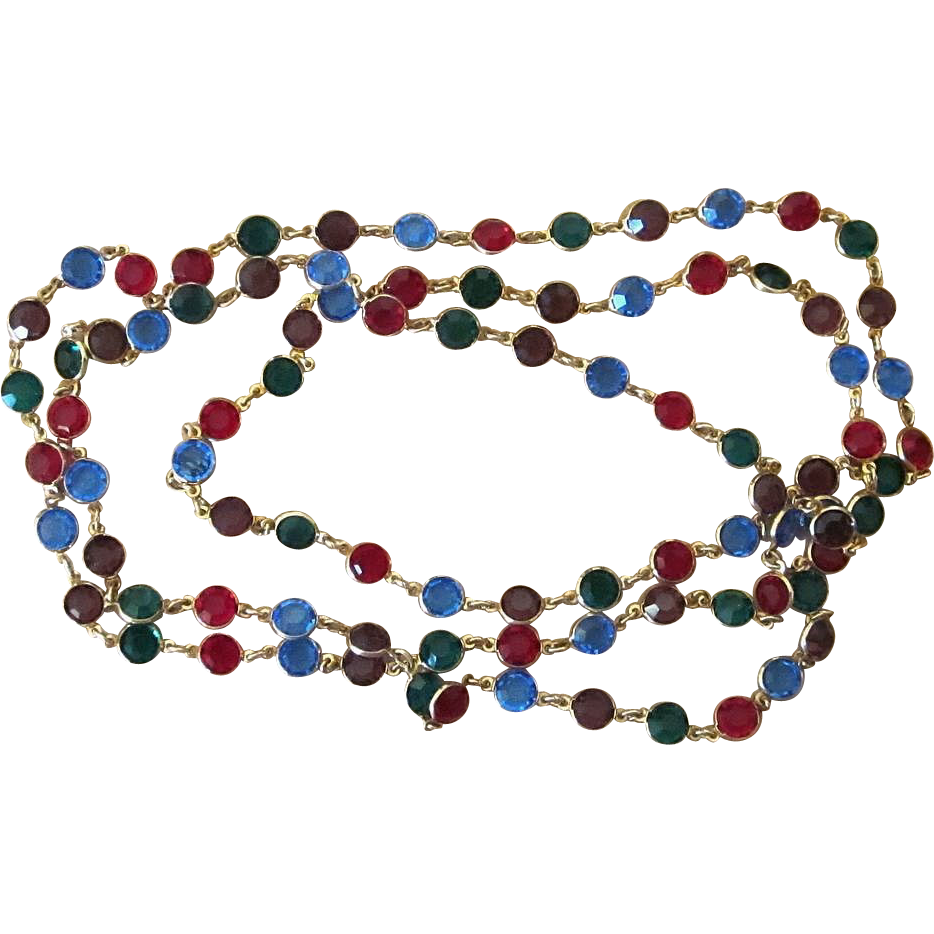 54 Inch Glass Crystal Bezel Set Vintage Sautoir Necklace