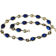 Accessocraft Faux Lapis and Faux Pearl Vintage Sautoir Necklace