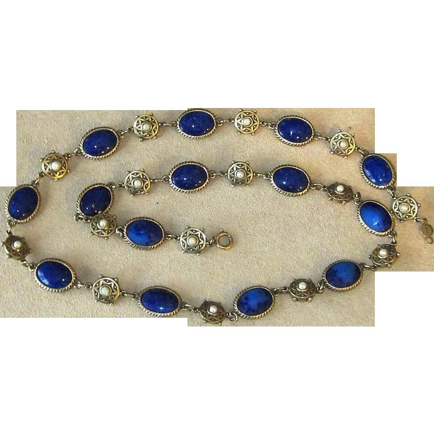 Accessocraft Faux Lapis and Faux Pearl Vintage Sautoir Necklace