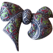 Sterling Silver, Enamel and Marcasite Fabulous Bow Brooch