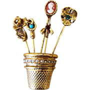 Unsigned Goldette Thimble Stick Pin Vintage  Brooch