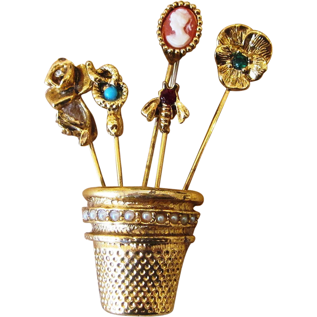 Vintage Thimble Hat Or Stick Pins Collection Brooch With