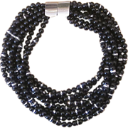 Jay Feinberg  Couture Black Signed Vintage Torsade  Necklace