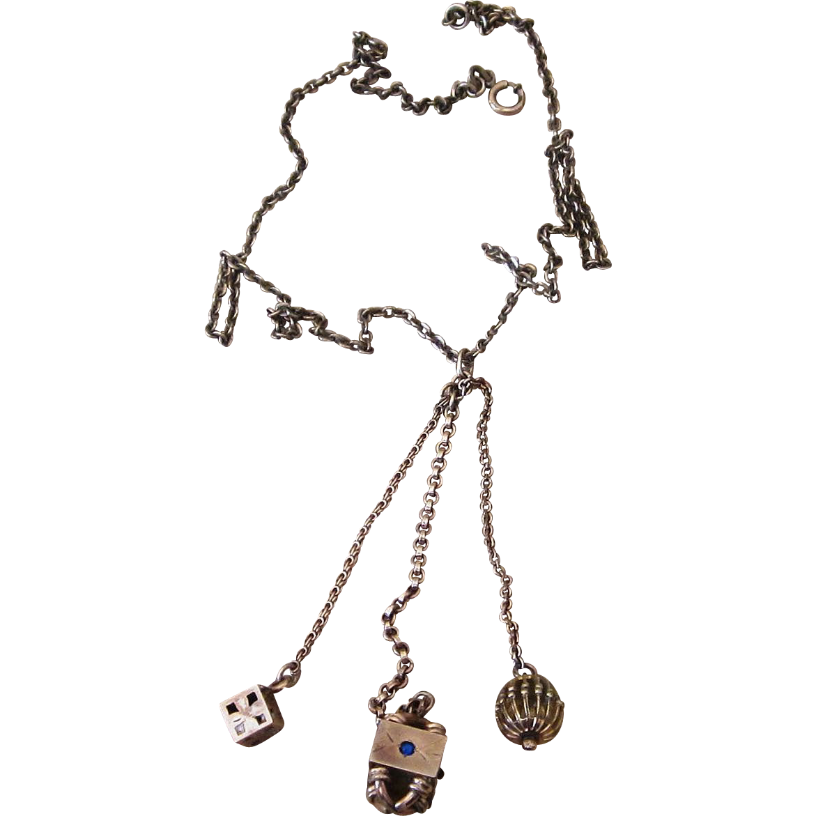 Victorian Gold Filled Necklace with Unique Fob Charms Unique and  Super