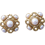 Givenchy Vintage Signed Mogul Faux Pearl Large Runway Earrings