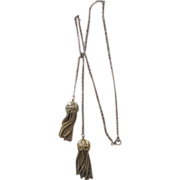 Vintage Gold Filled Tassel Lariat Necklace