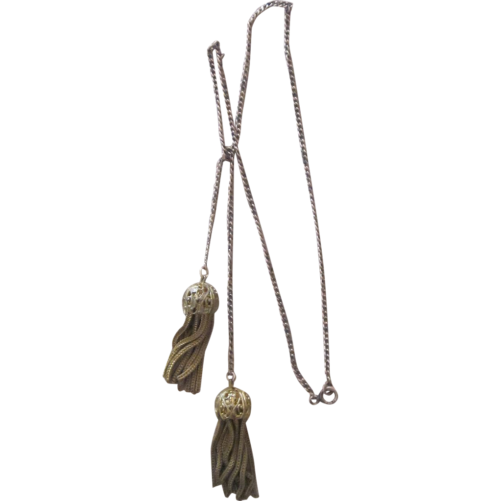 Vintage Gold Filled Tassel Lariat Necklace