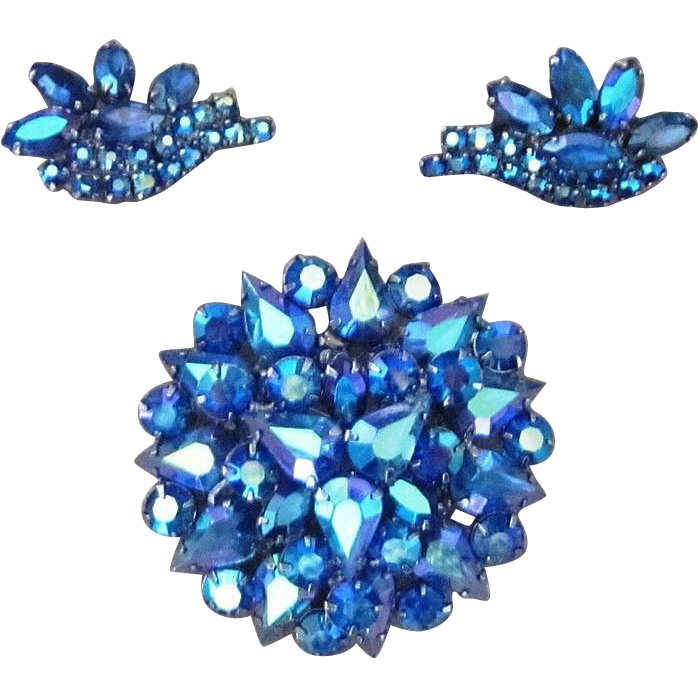 Amazing Bright Blue AB Vintage Brooch and Earrings