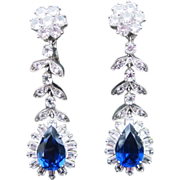 Amazing Vintage Long Drop Rhinestone Earrings