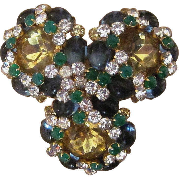 K.J.L. Earliest Kenneth Jay Lane Huge Runway Vintage Haute Couture Designer  Signed Brooch