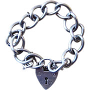 English Hallmarked  33 grams Heart Lock Sterling Charm Link Bracelet