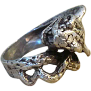 Hand Forged Sterling Serpent or Snake Vintage Sterling Ring