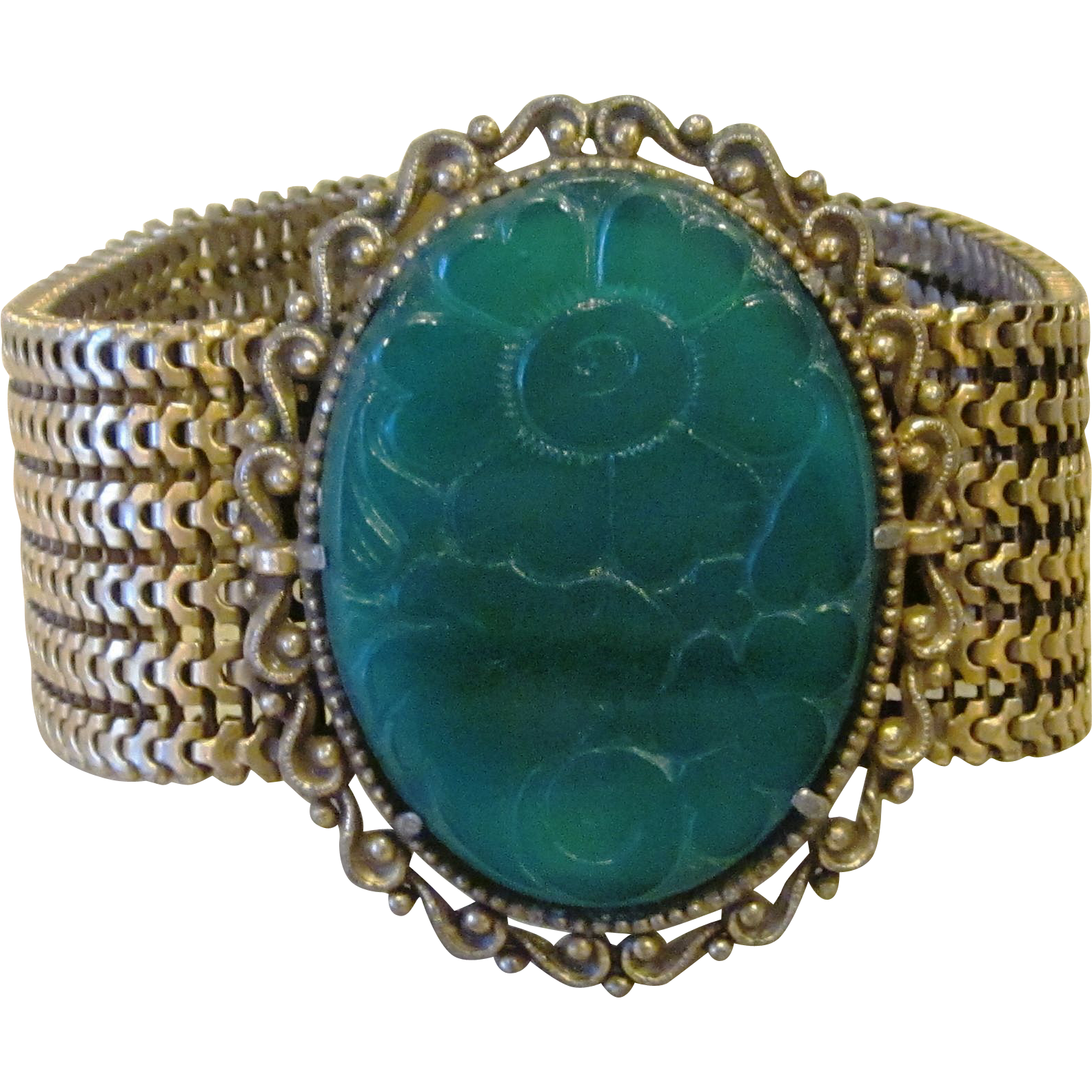 Huge Victorian Revival Carved Glass Brass Vintage Bracelet