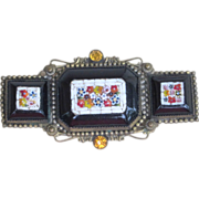 Micromosaic Large  Amazing and Rare Antique Brooch