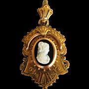 Victorian Cameo Large Locket or Hair locket Ornate Antique Pendant