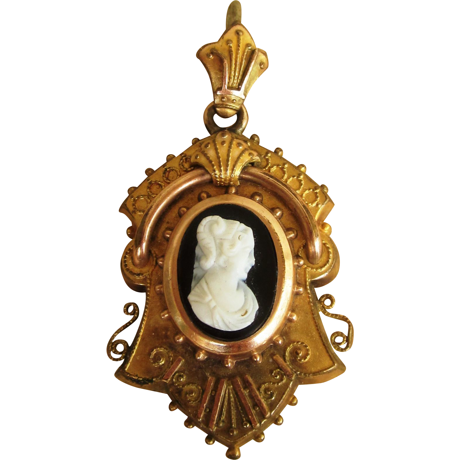 Victorian Cameo Large Locket or Hair locket Ornate Antique Pendant