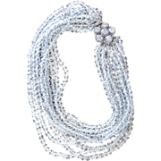 Extraordinary 10 Strand Crystal Vintage Runway  Necklace with Amazing Clasp