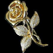Swarovski Signed Vintage Rose Rhinestone Brooch