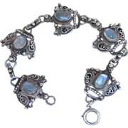 Moonstone Sterling Unique Rare Vintage Bracelet