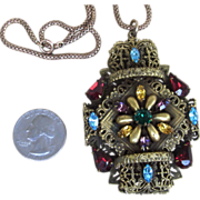 3 Inch Czech Fabulous Ornate Rhinestone Vintage  Pendant Necklace